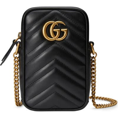Gucci Mini Gg Marmont 2.0 Quilted Leather Crossbody Bag - Black