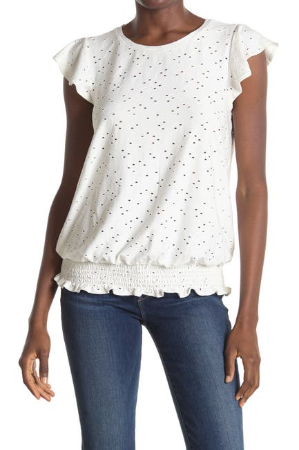 Image of Adrianna Papell Knit Eyelet Ruffle Sleeve Smocked Top