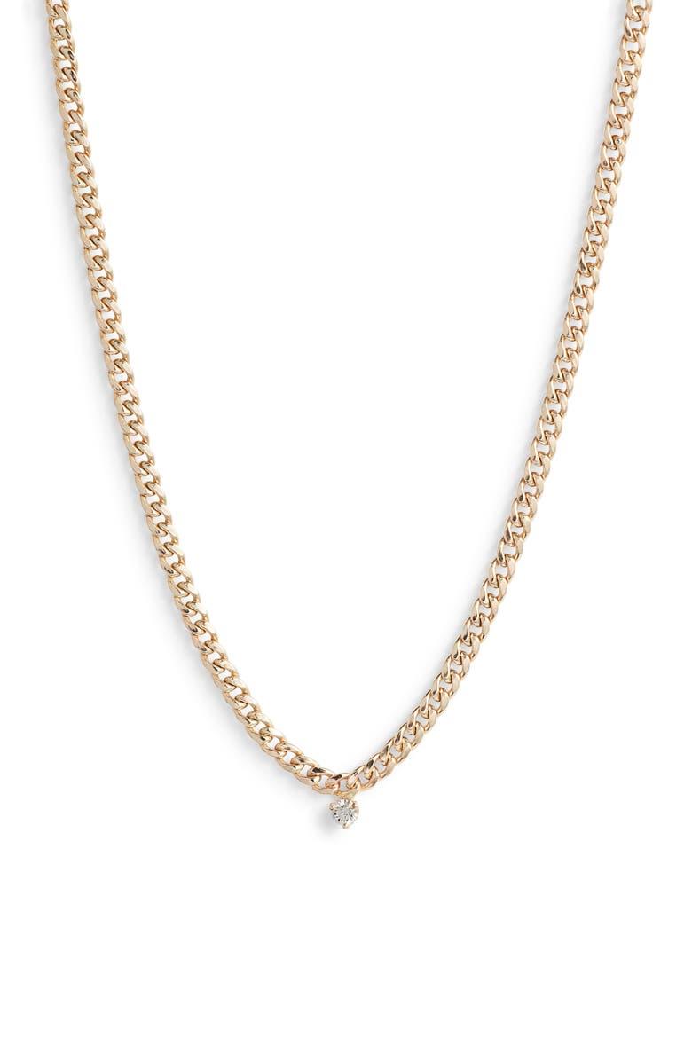 ZOË CHICCO Diamond Curb Chain Necklace, Main, color, GOLD