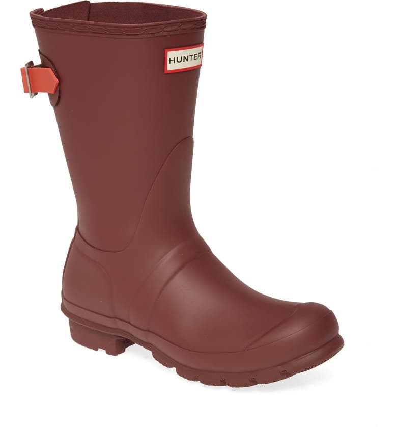 HUNTER Original Short Back Adjustable Waterproof Rain Boot, Main, color, RUMBLING RED/ SIREN