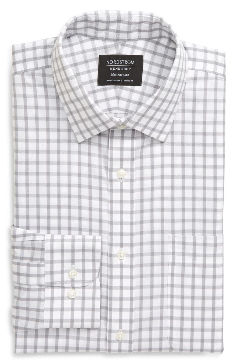 NORDSTROM MEN'S SHOP Smartcare<sup>™</sup> Classic Fit Check Dress Shirt, Main, color, GREY SLEET