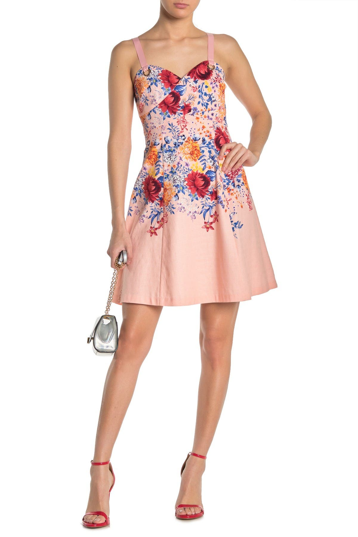 Image of GUESS Floral Sweetheart Sleeveless Fit & Flare Dress