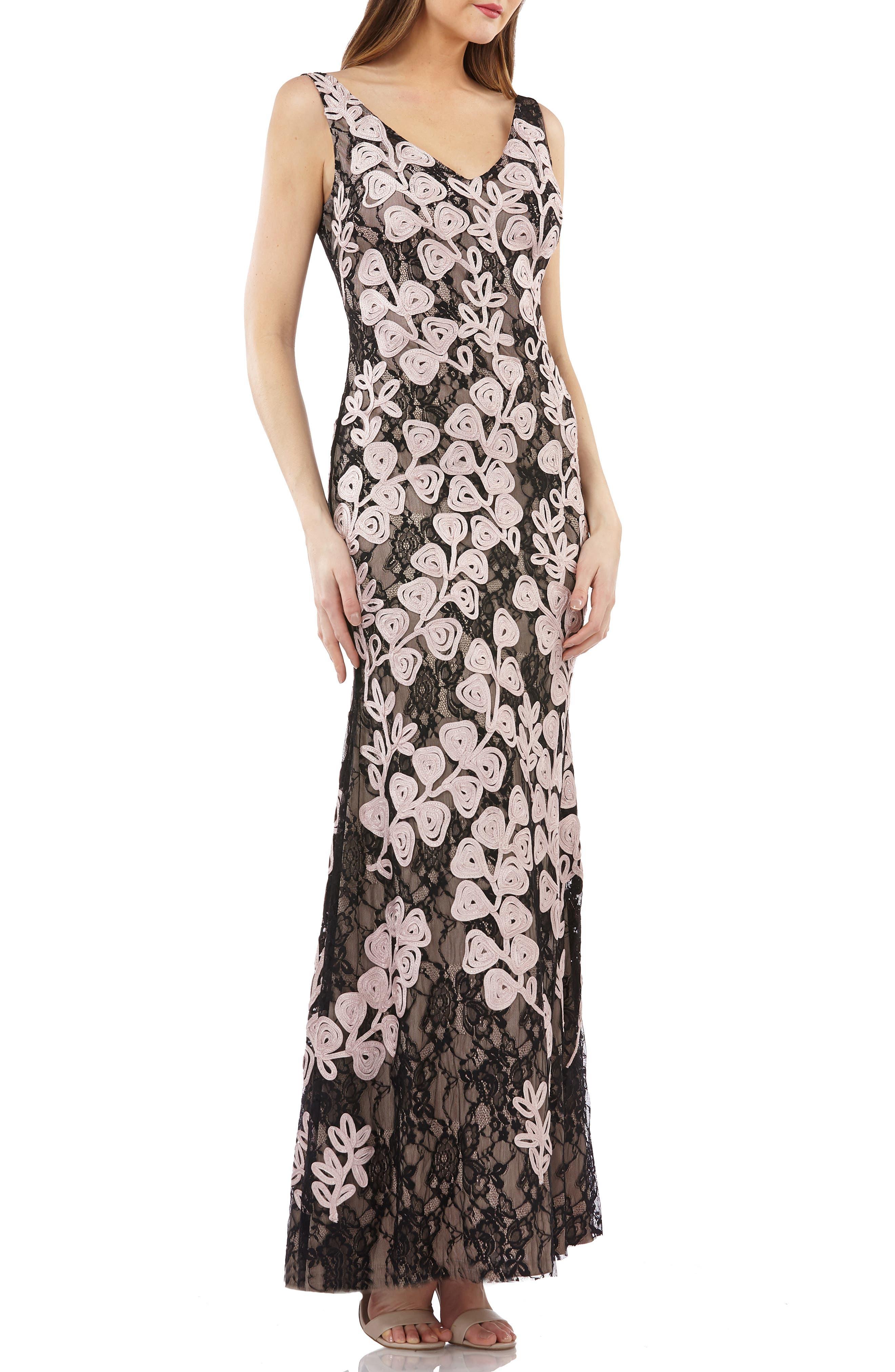 Js Collections Soutache Mermaid Gown, Black