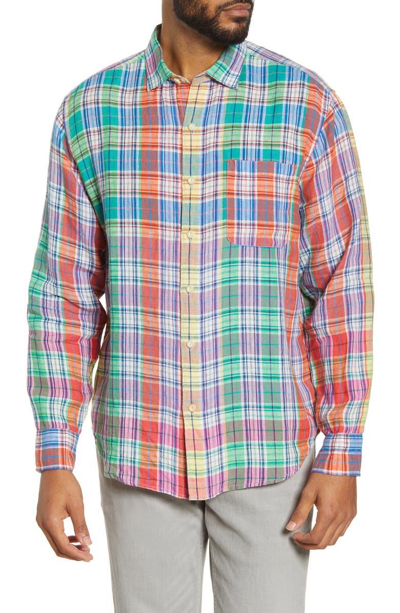 TOMMY BAHAMA Mahal Madras Plaid Linen Button-Up Shirt, Main, color, MANGO BLOSSOM