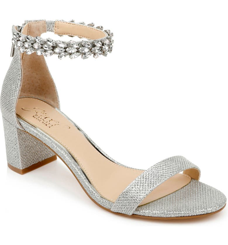 JEWEL BADGLEY MISCHKA Bradley Ankle Strap Sandal, Main, color, SILVER WOVEN GLITTER