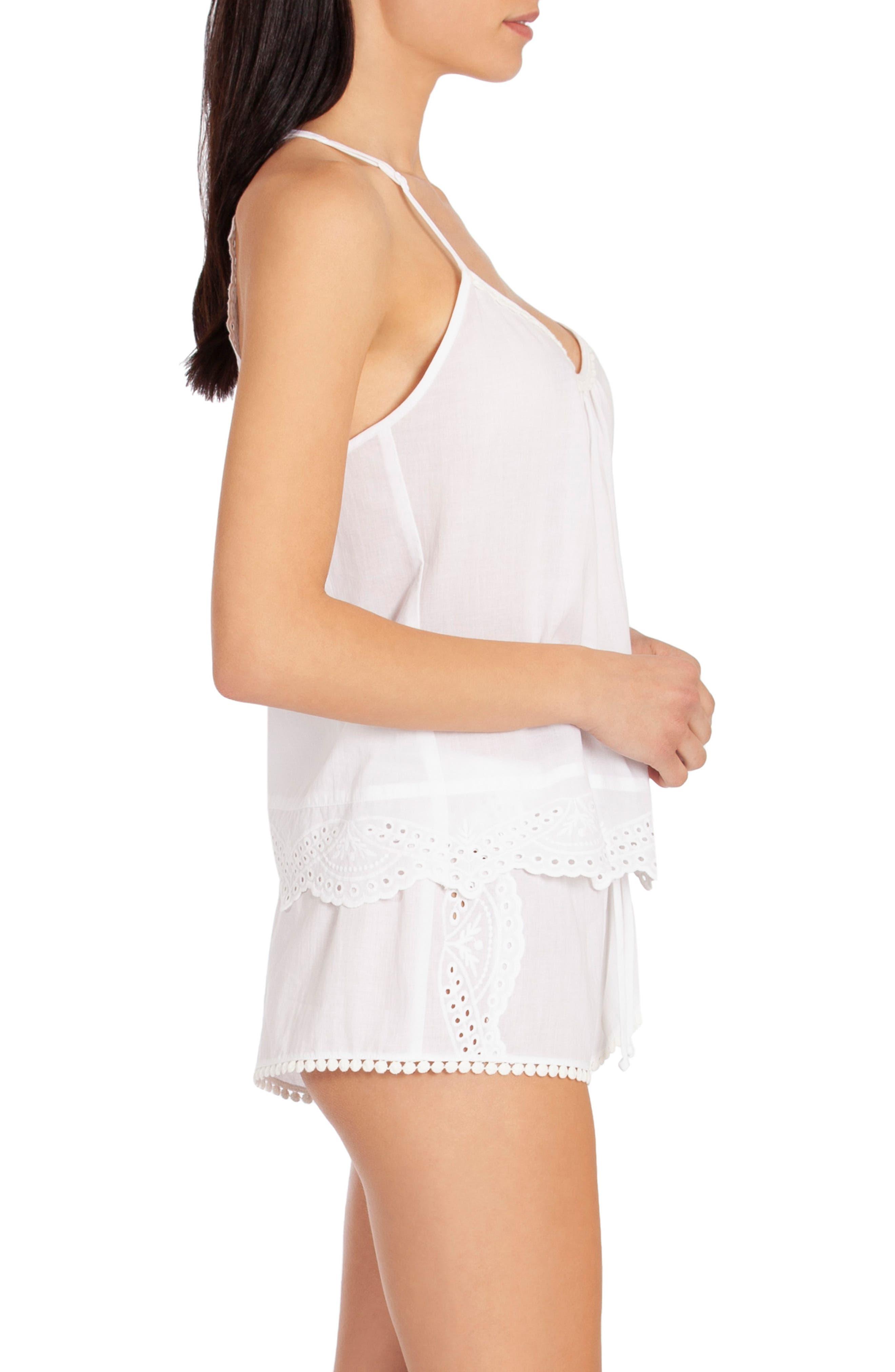 ,                             Eyelet Short Pajamas,                             Alternate thumbnail 3, color,                             WHITE