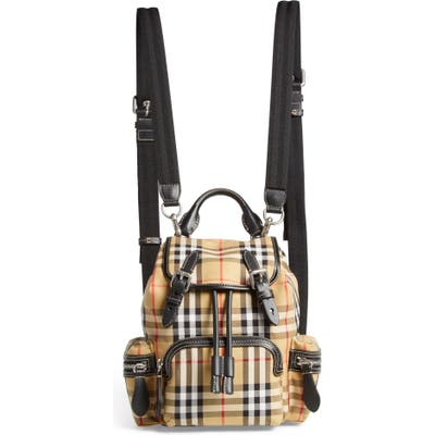 Burberry Small Rucksack Vintage Check Canvas & Leather Backpack - Beige