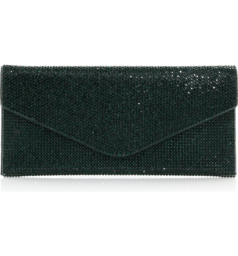 JUDITH LEIBER Couture Beaded Envelope Clutch, Main, color, EBONIZED EMERALD