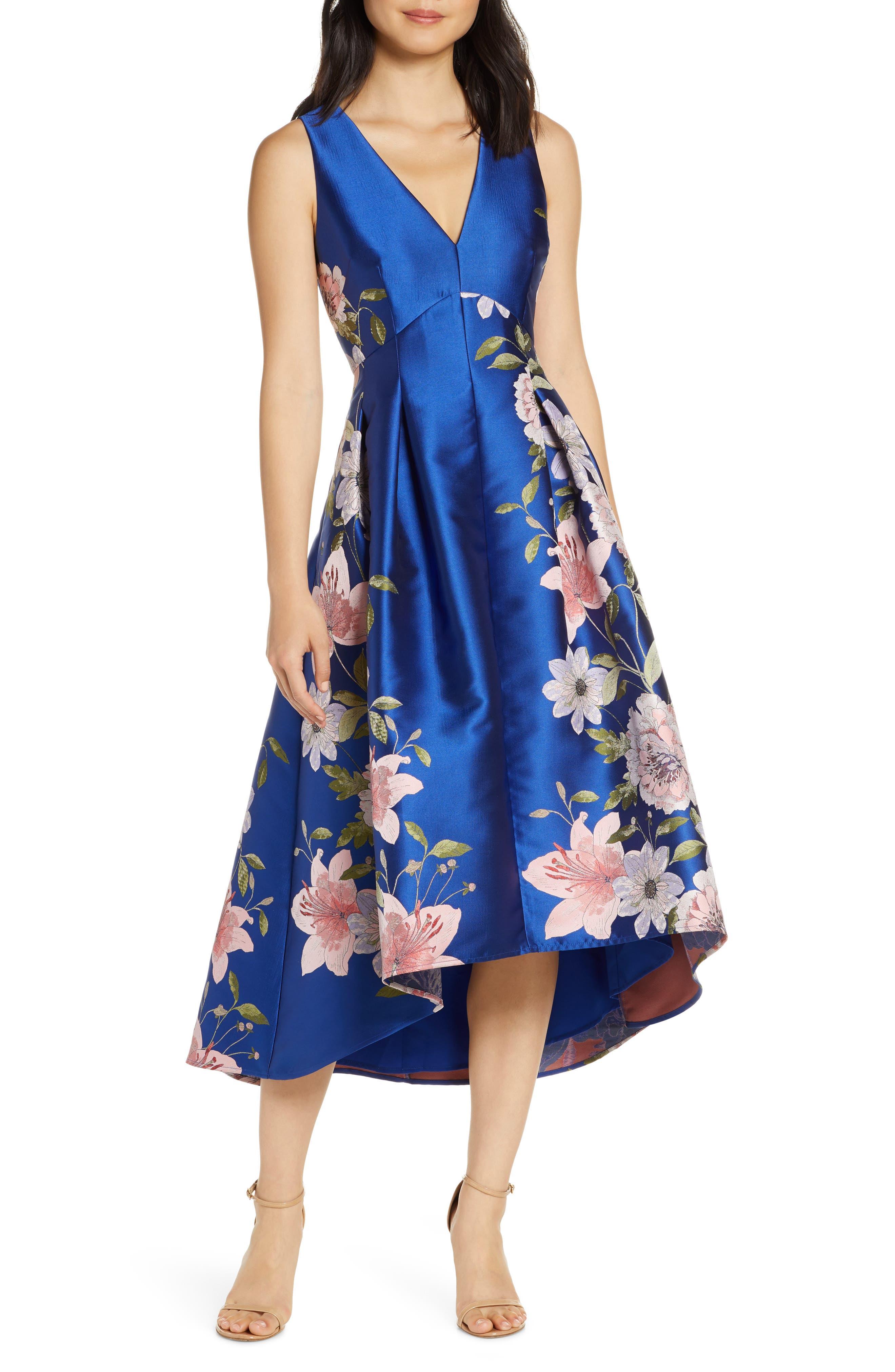 Eliza J Floral Print Satin Twill High/low Fit & Flare Dress, Blue