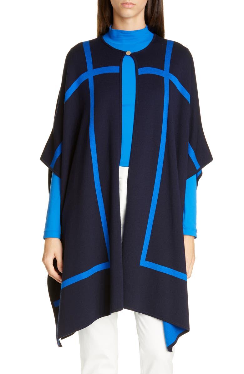 ST. JOHN COLLECTION Reversible Windowpane Wool Blend Wrap, Main, color, SCUBA BLUE/ NAVY