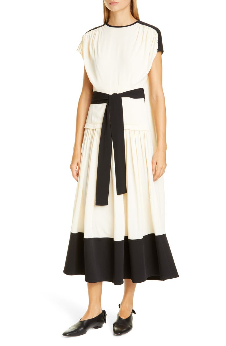 PROENZA SCHOULER Colorblock Drape Dress, Main, color, ECRU
