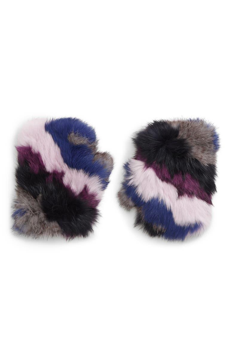 JOCELYN Mandy Dyed Genuine Rabbit Fur Mittens, Main, color, STRIPE