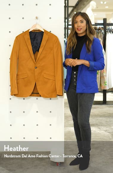 Slim Fit Satin Suit Jacket, sales video thumbnail