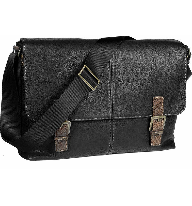 BOCONI Double Buckle Messenger Bag, Main, color, 001