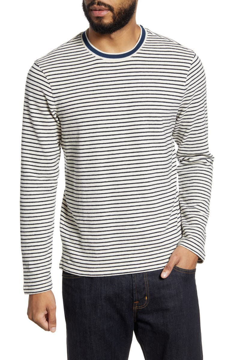CLUB MONACO Refined Stripe Terry Crewneck Sweater, Main, color, NAVY