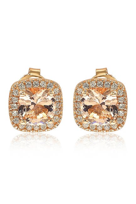 Image of Suzy Levian 14K Rose Gold Plated Cushion Cut Morganite CZ Halo Stud Earrings