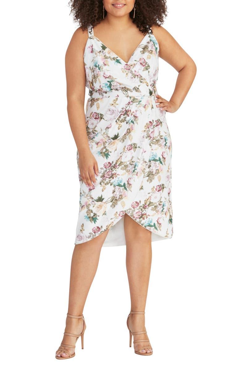 RACHEL RACHEL ROY Sequin Faux Wrap Dress, Main, color, EGGSHELL COMBO