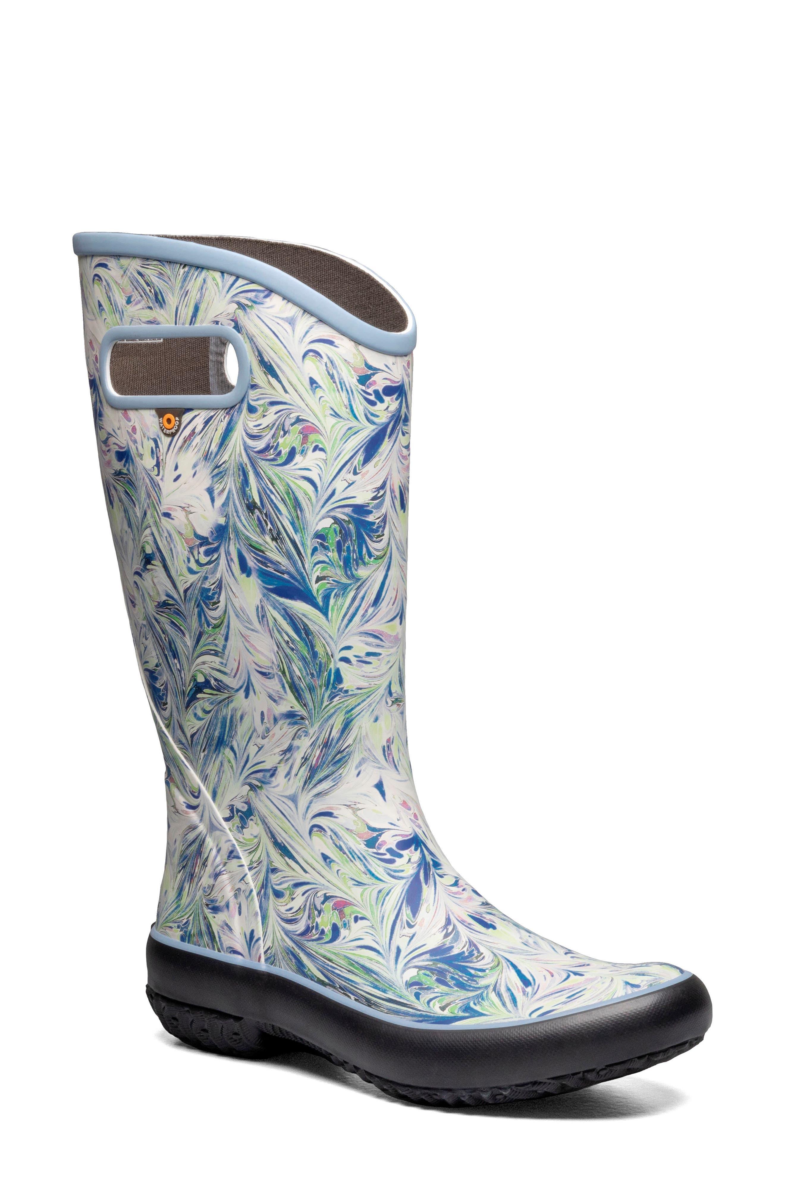 Marble Print Waterproof Rain Boot