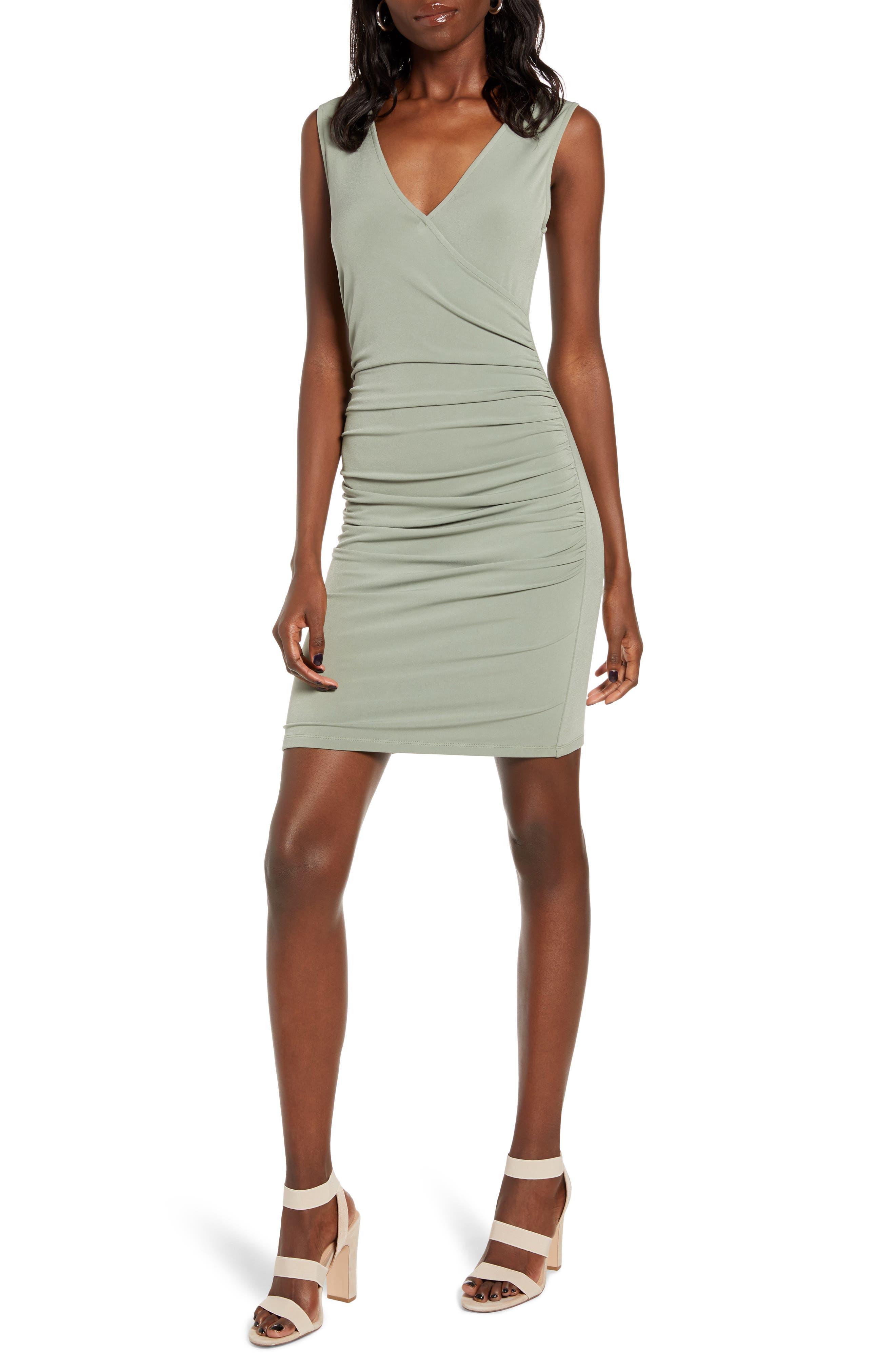 Leith Ruched Wrap Style Sleeveless Minidress