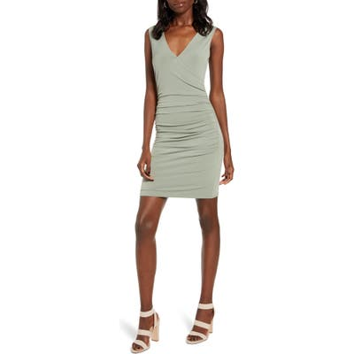 Leith Ruched Wrap Style Sleeveless Minidress, Green