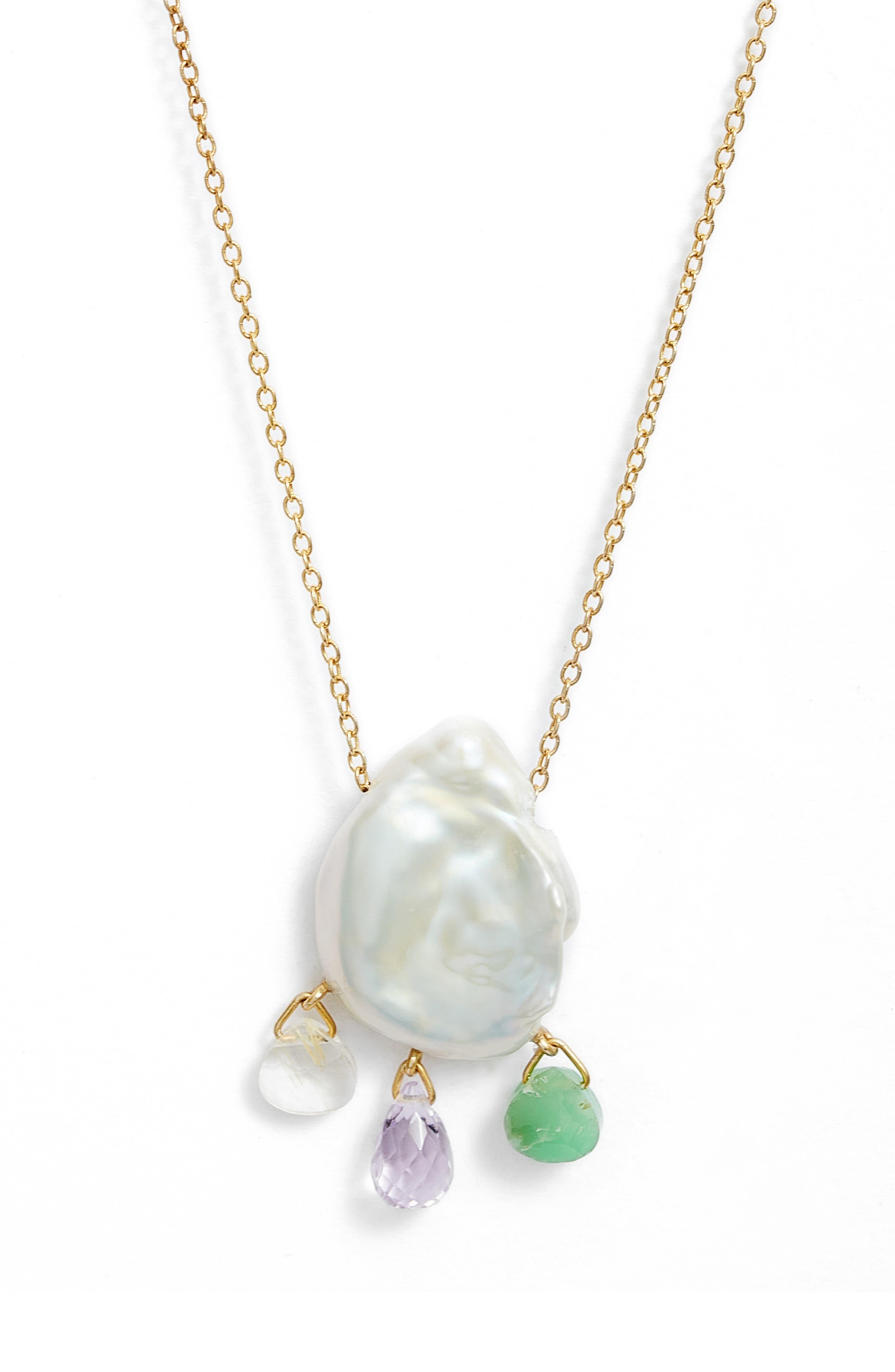 Freshwater Pearl & Quartz Pendant Necklace