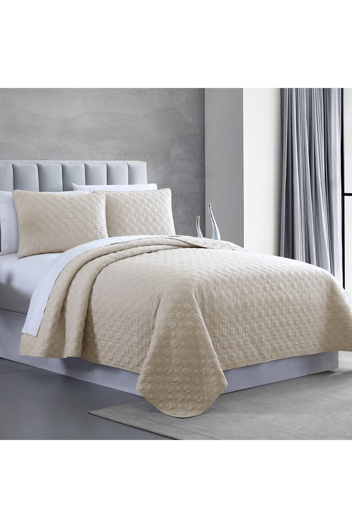 Image of Modern Threads King Enzyme Washed Diamond Link Quilted Coverlet 3-Piece Set - Almond