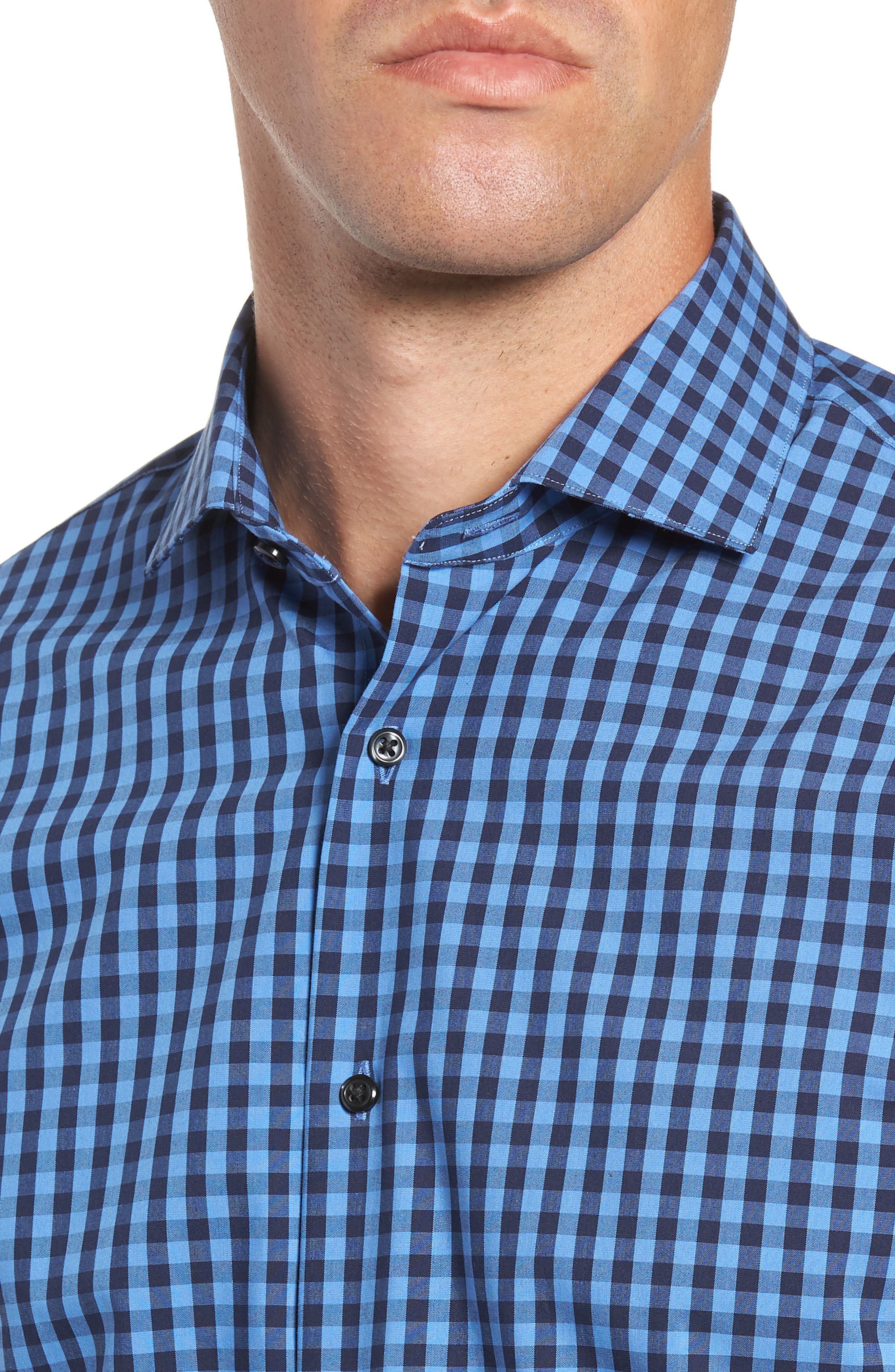 ,                             Tech-Smart Trim Fit Stretch Check Dress Shirt,                             Alternate thumbnail 34, color,                             455