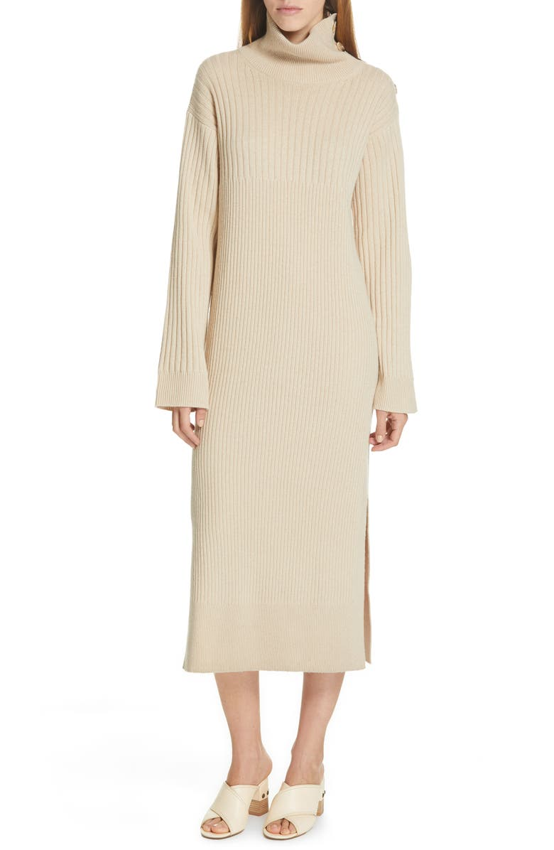 SEE BY CHLOÉ Turtleneck Midi Sweater Dress, Main, color, LIGHT/ PASTEL BROWN