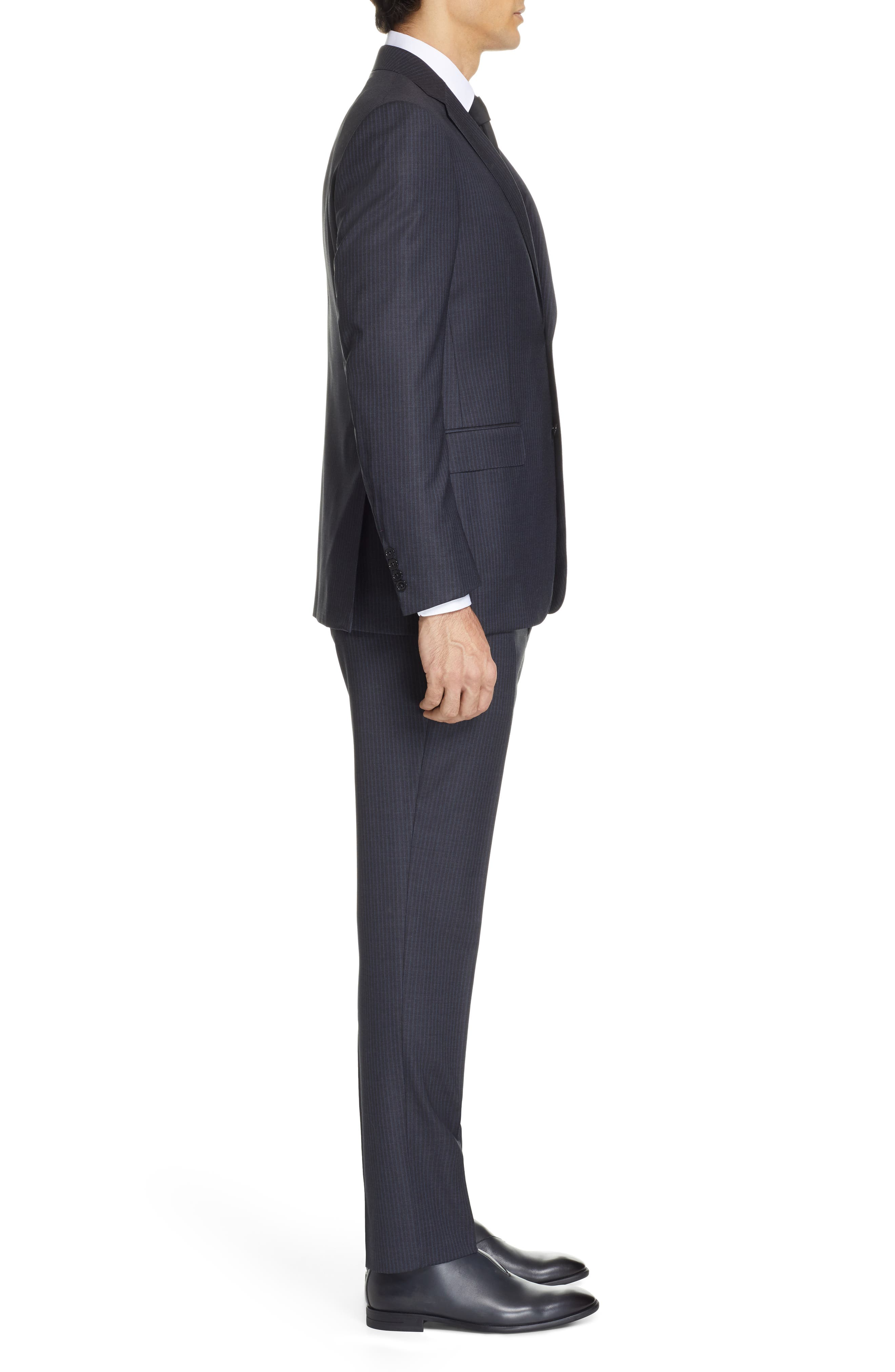 ,                             Milano Classic Fit Stripe Wool Suit,                             Alternate thumbnail 3, color,                             CHARCOAL
