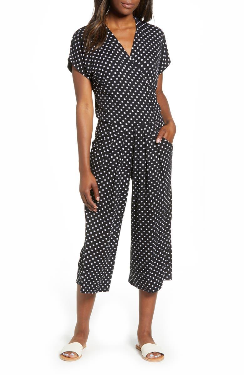 LOVEAPPELLA Wrap Wide Leg Crop Jumpsuit, Main, color, BLACK/ IVORY