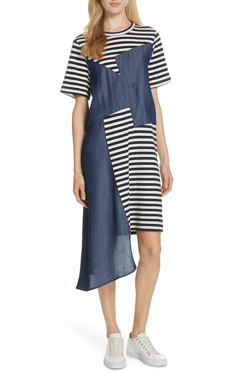 CLU Stripe Mixed Media T-Shirt Dress, Main, color, 402