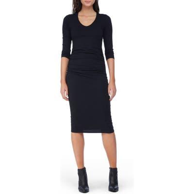 Petite Michael Stars Ruched Midi Dress, Black