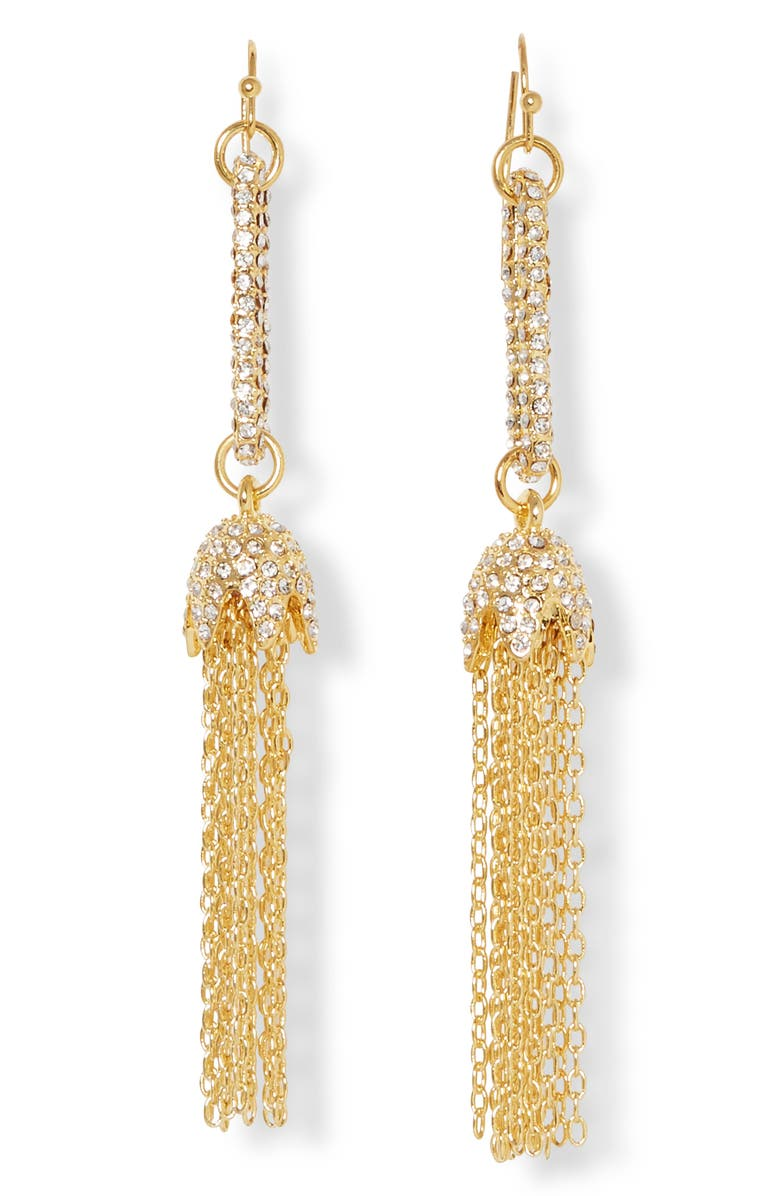 VINCE CAMUTO Linear Tassel Earrings, Main, color, GOLD