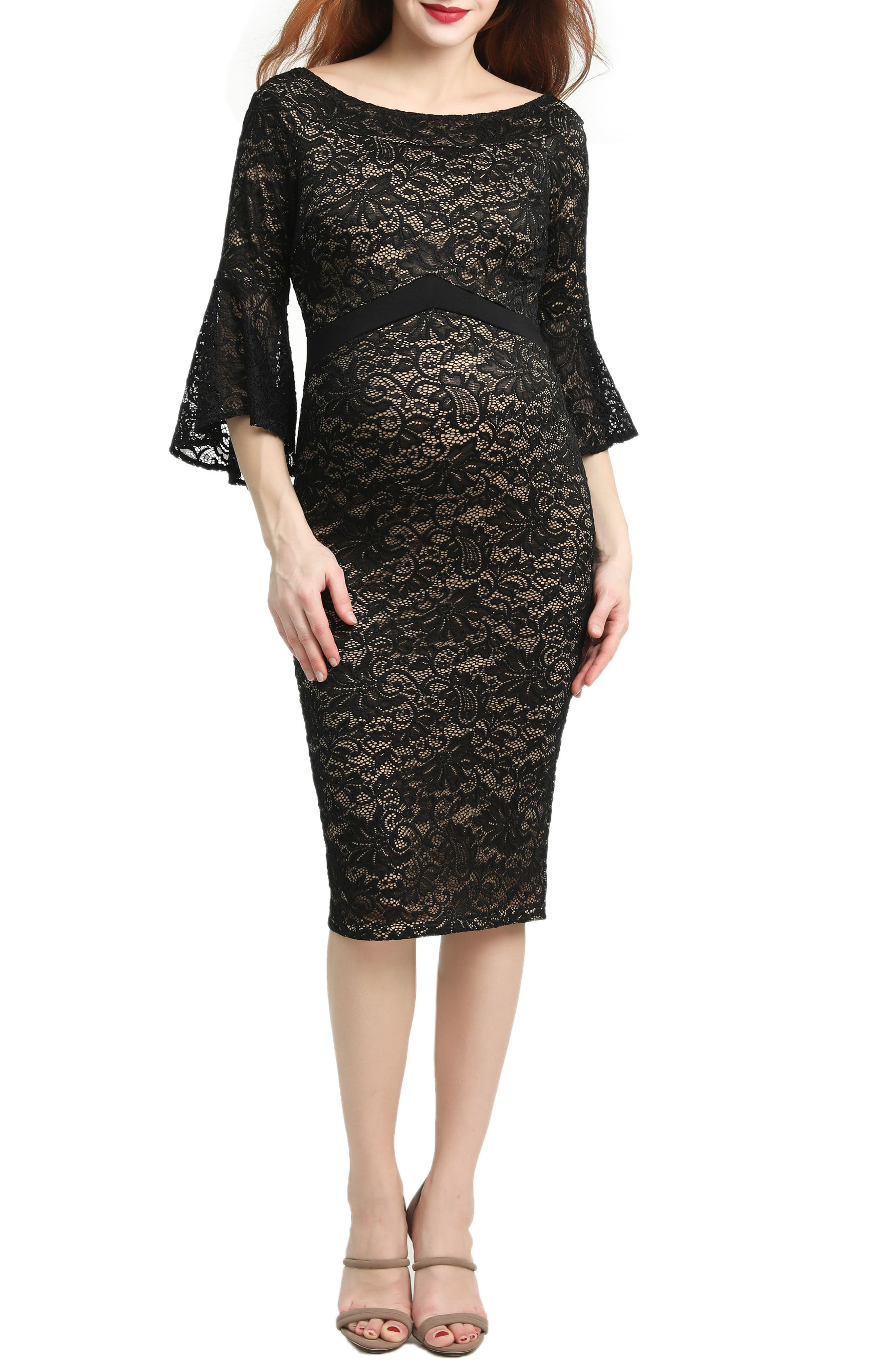 Strategic paneling accentuates the bump-flattering style of a lace body-con dress updated with flared three-quarter sleeves. Style Name: Kimi And Kai Lena Maternity Body-Con Dress. Style Number: 5497558. Available in stores.