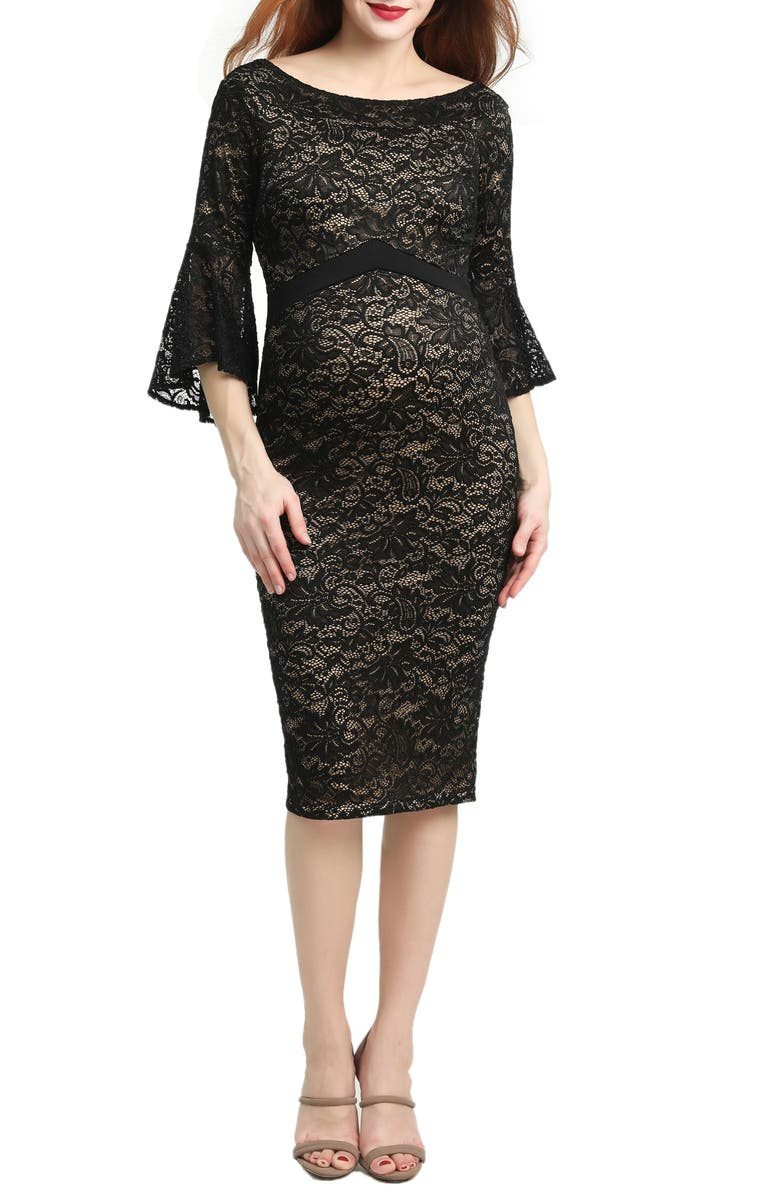 KIMI AND KAI Kimi & Kai Lena Maternity Body-Con Dress, Main, color, BLACK