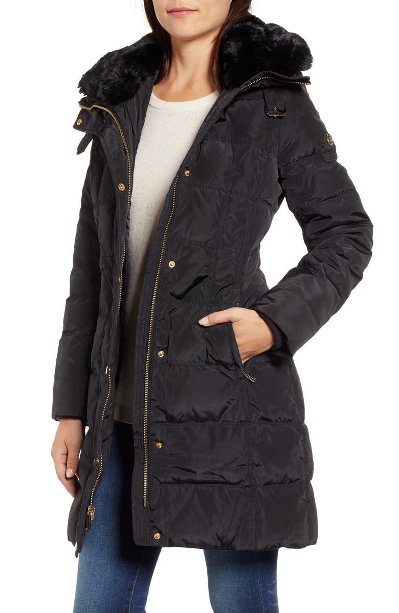 MICHAEL MICHAEL KORS Faux Fur Collar Parka, Main, color, Black