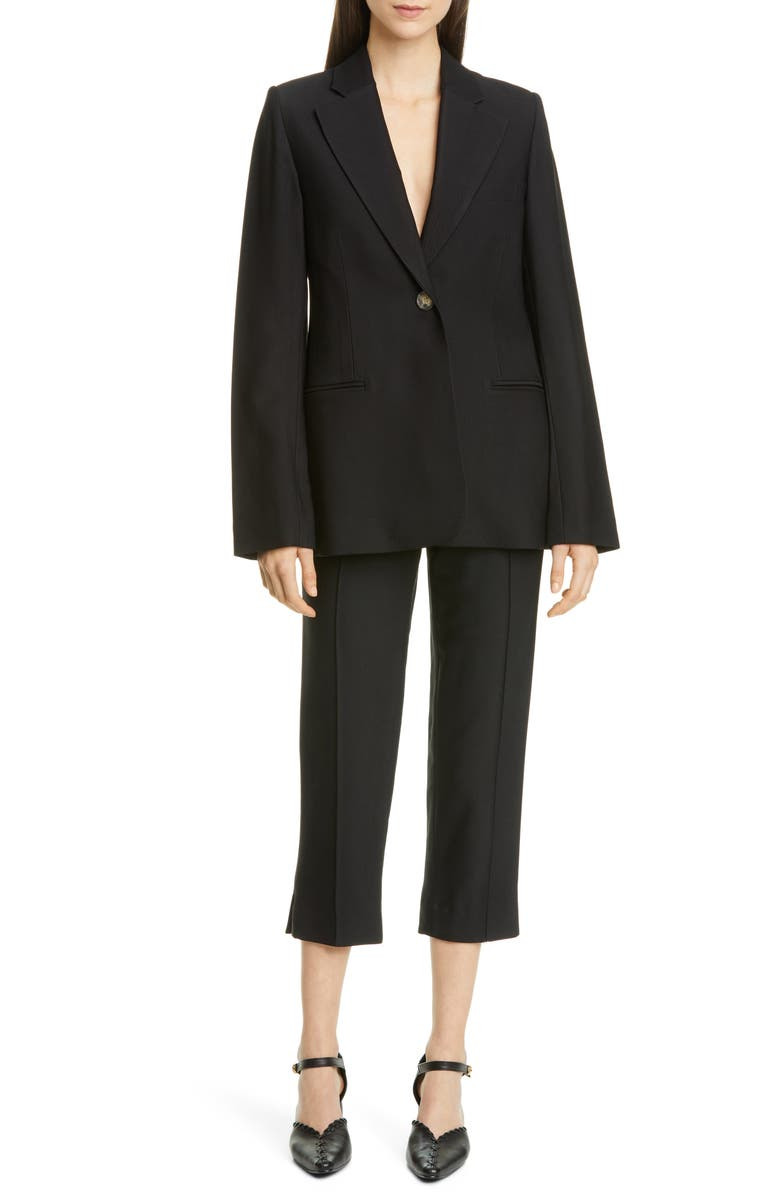 KHAITE Vera Stretch Twill Blazer, Main, color, BLACK