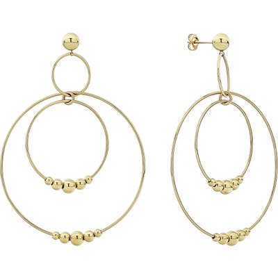 Lagos Caviar Gold Triple Circle Orbital Drop Earrings