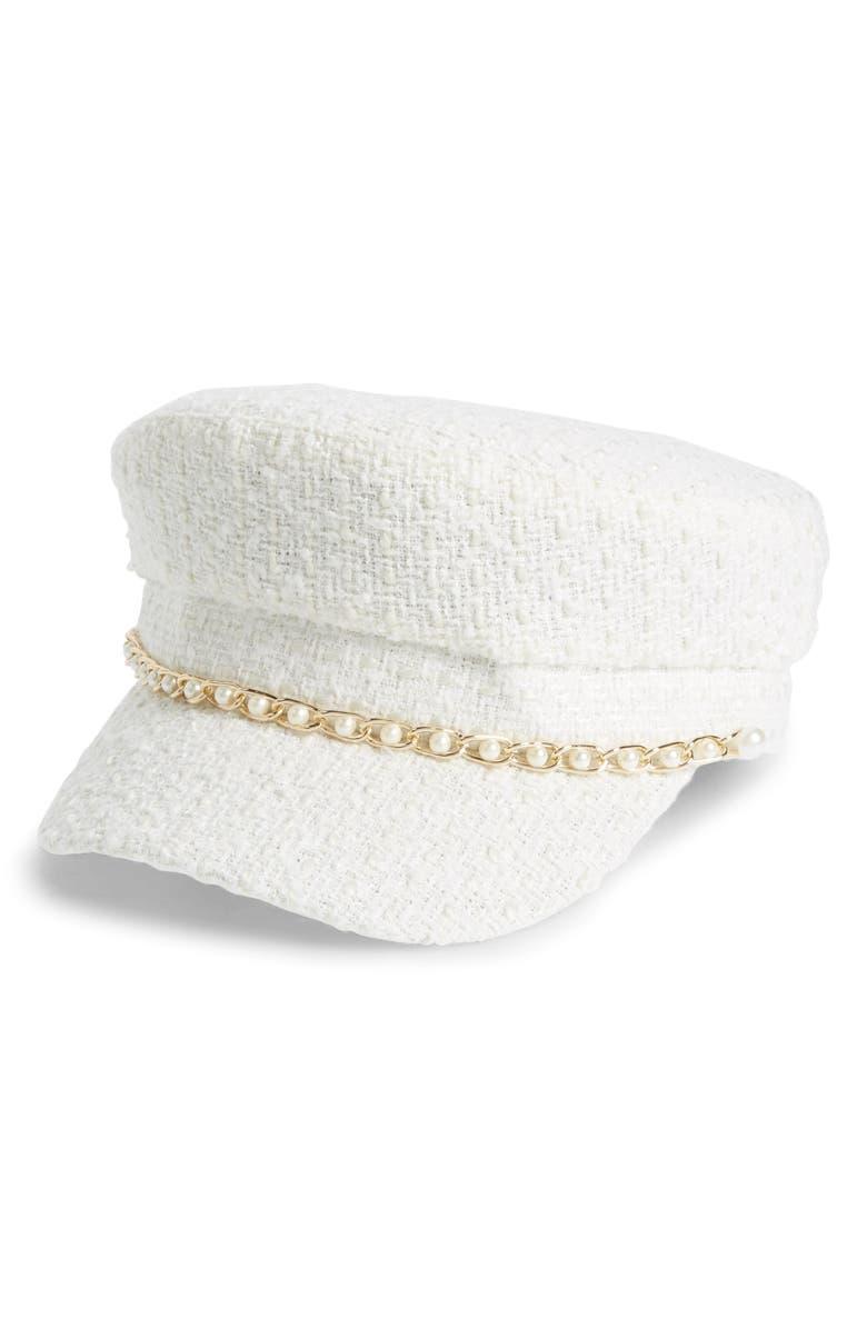 LEITH Tweed Baker Boy Hat, Main, color, 900