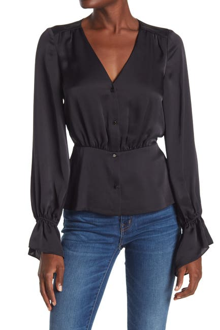 Image of Ramy Brook Karen Ruffle Cuff V-Neck Blouse