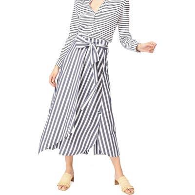 Court & Rowe Wide Stripe Tie Waist Cotton Blend Skirt, Blue