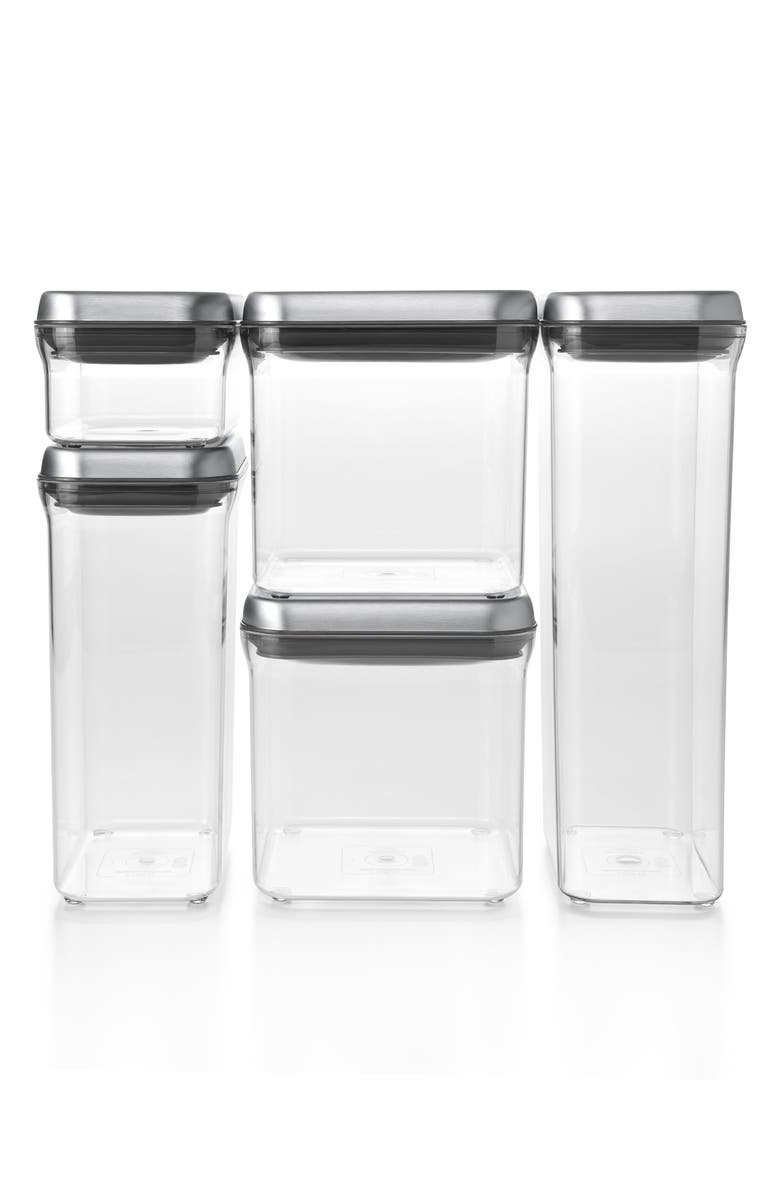 OXO POP 5-Piece Airtight Food Storage Set, Main, color, CLEAR