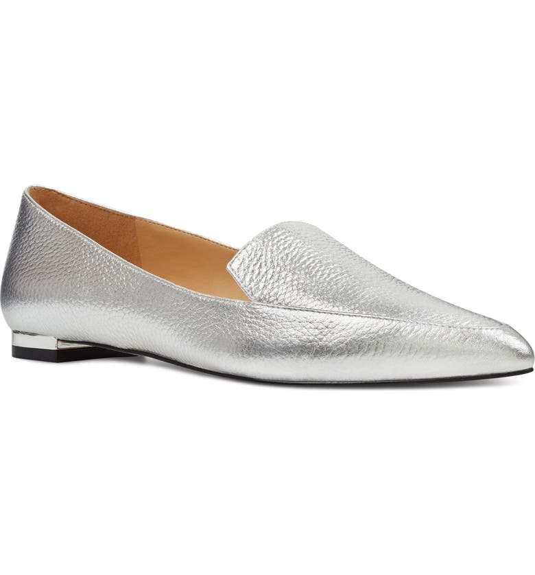 NINE WEST 'Abay' Pointy Toe Loafer, Main, color, SILVER LEATHER