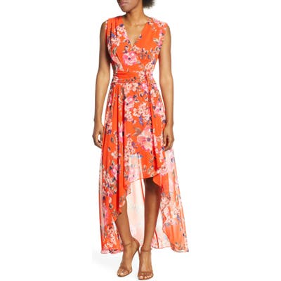 Petite Eliza J Floral High/low Chiffon Maxi Dress, Orange