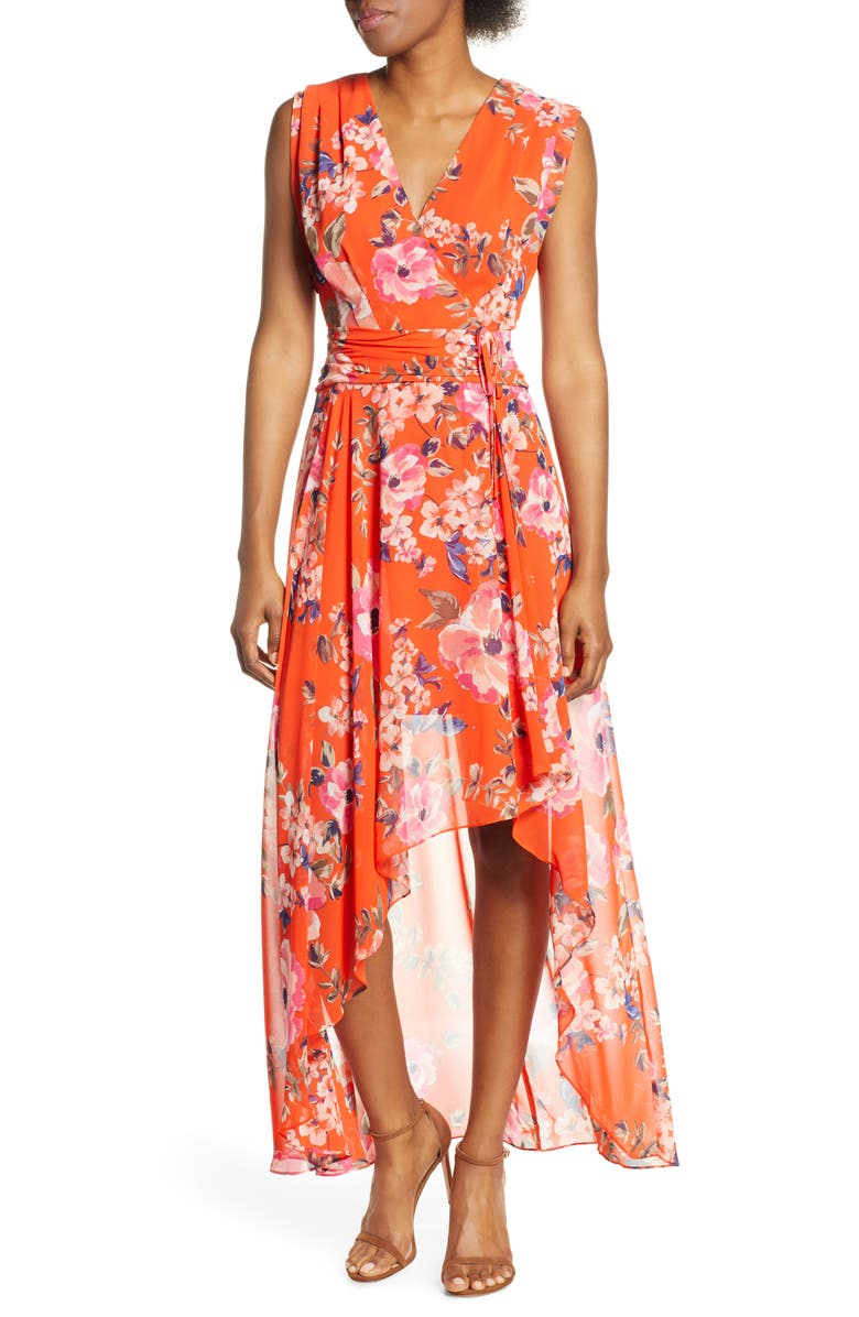 ELIZA J Floral High/Low Maxi Dress, Main, color, ORANGE