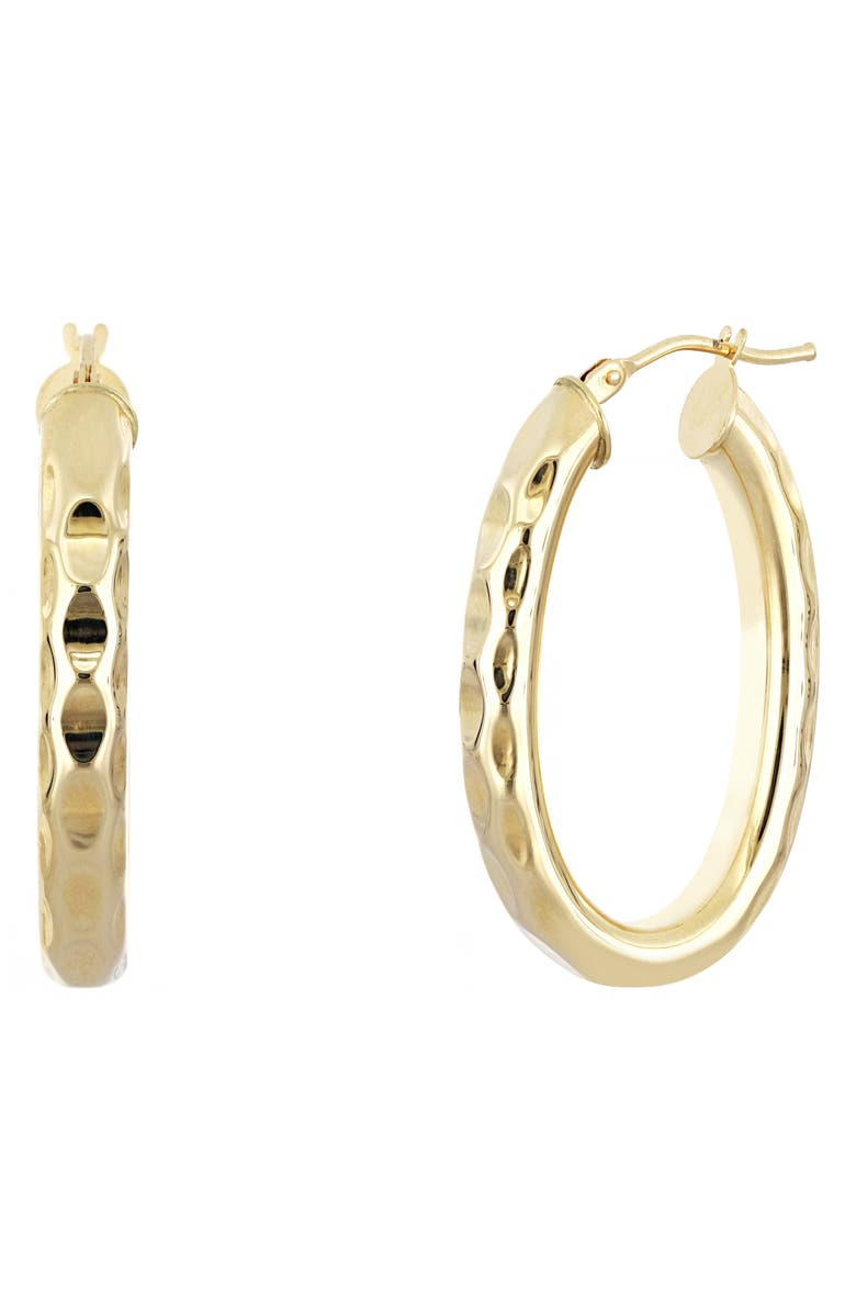 BONY LEVY 14K Gold Hammered Hoop Earrings, Main, color, YELLOW GOLD