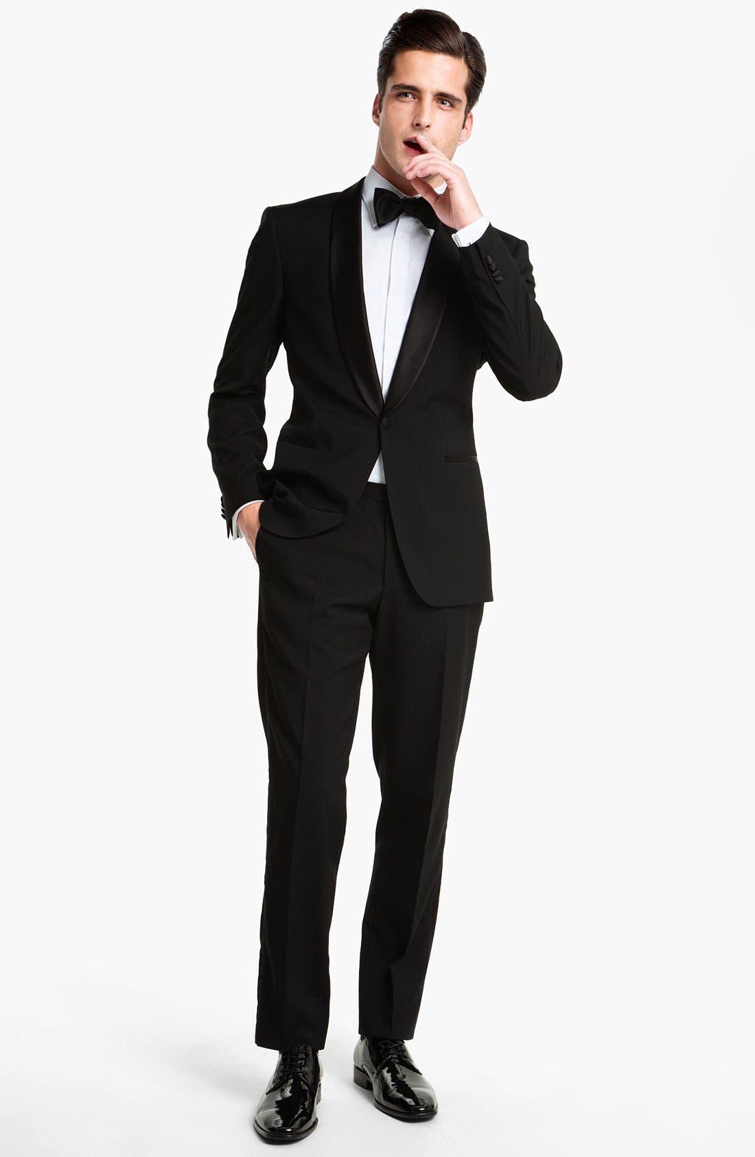 BOSS 'Sky Gala' Shawl Lapel Tuxedo, Main, color, 001