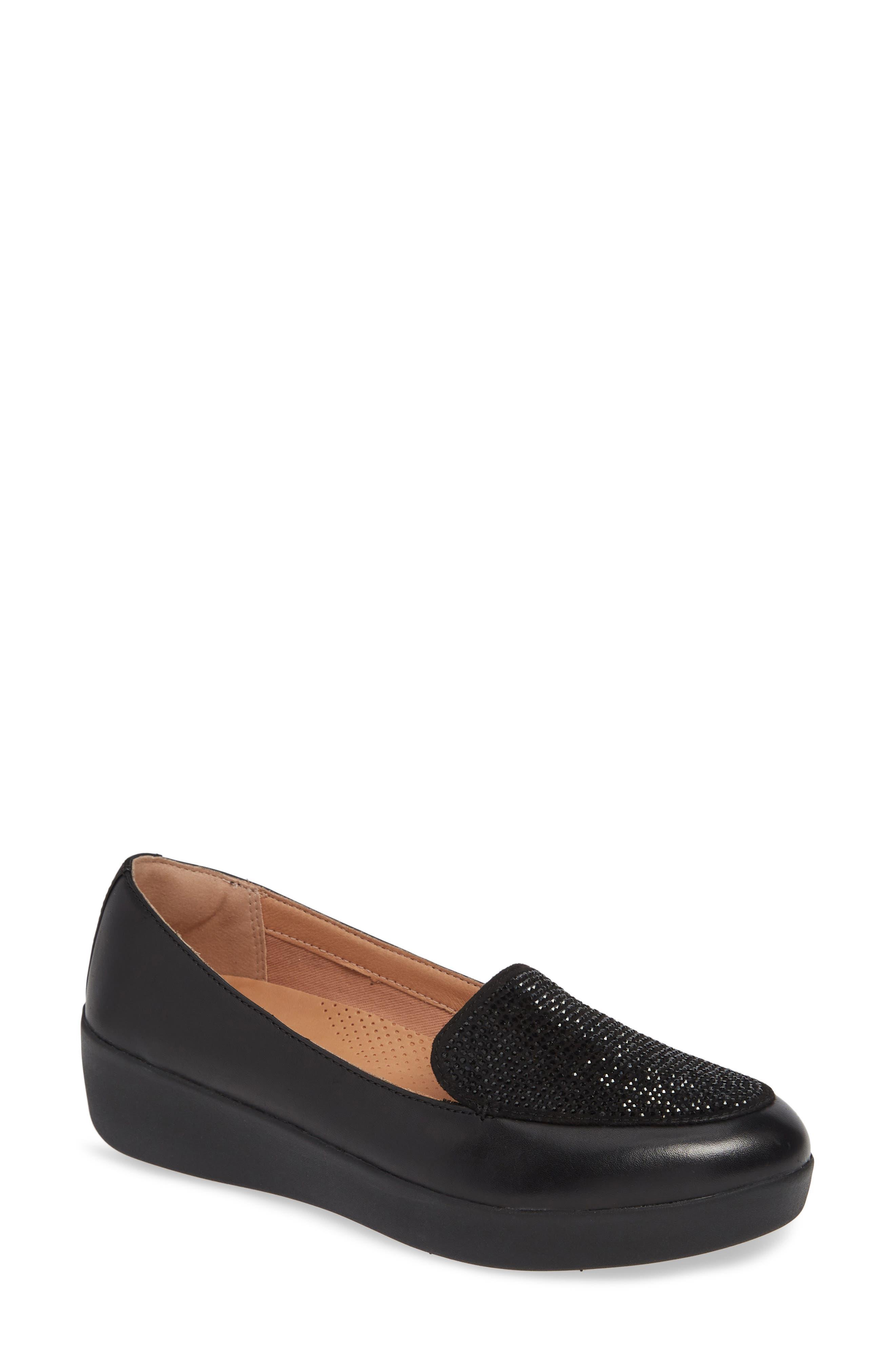 Crystal Embellished Sneakerloafer Slip-On, Main, color, BLACK FABRIC
