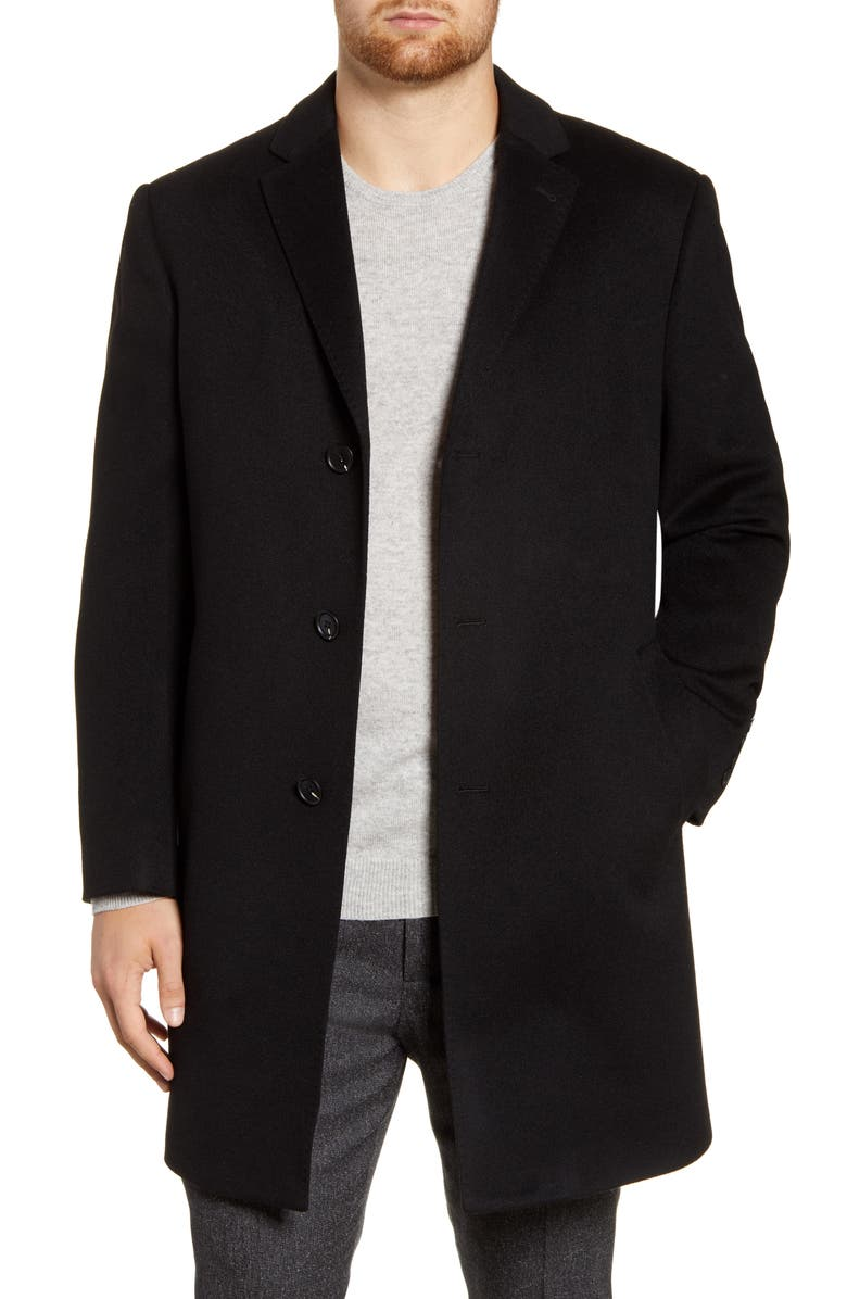 JOHN W. NORDSTROM<SUP>®</SUP> Mason Wool & Cashmere Overcoat, Main, color, BLACK CAVIAR