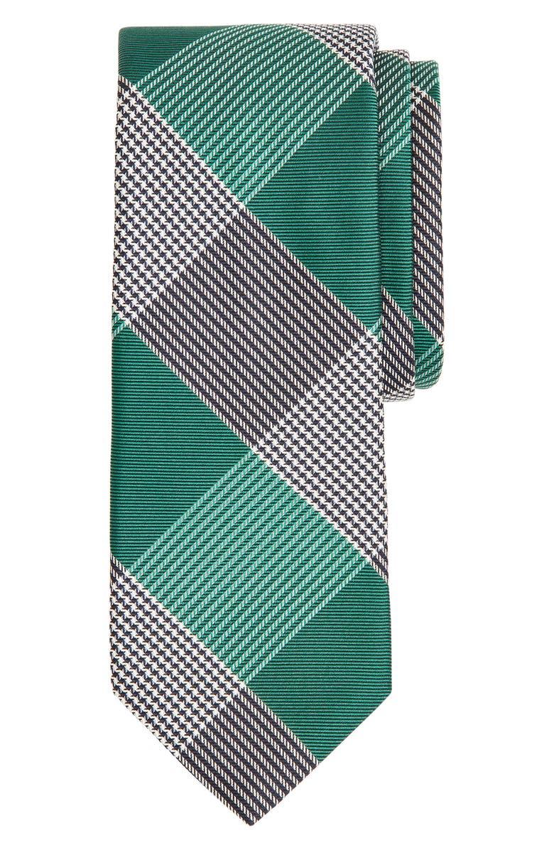 BROOKS BROTHERS Glen Plaid Silk Tie, Main, color, GREEN